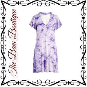 Purple Tie Dye Choker Cutout Shift Dress